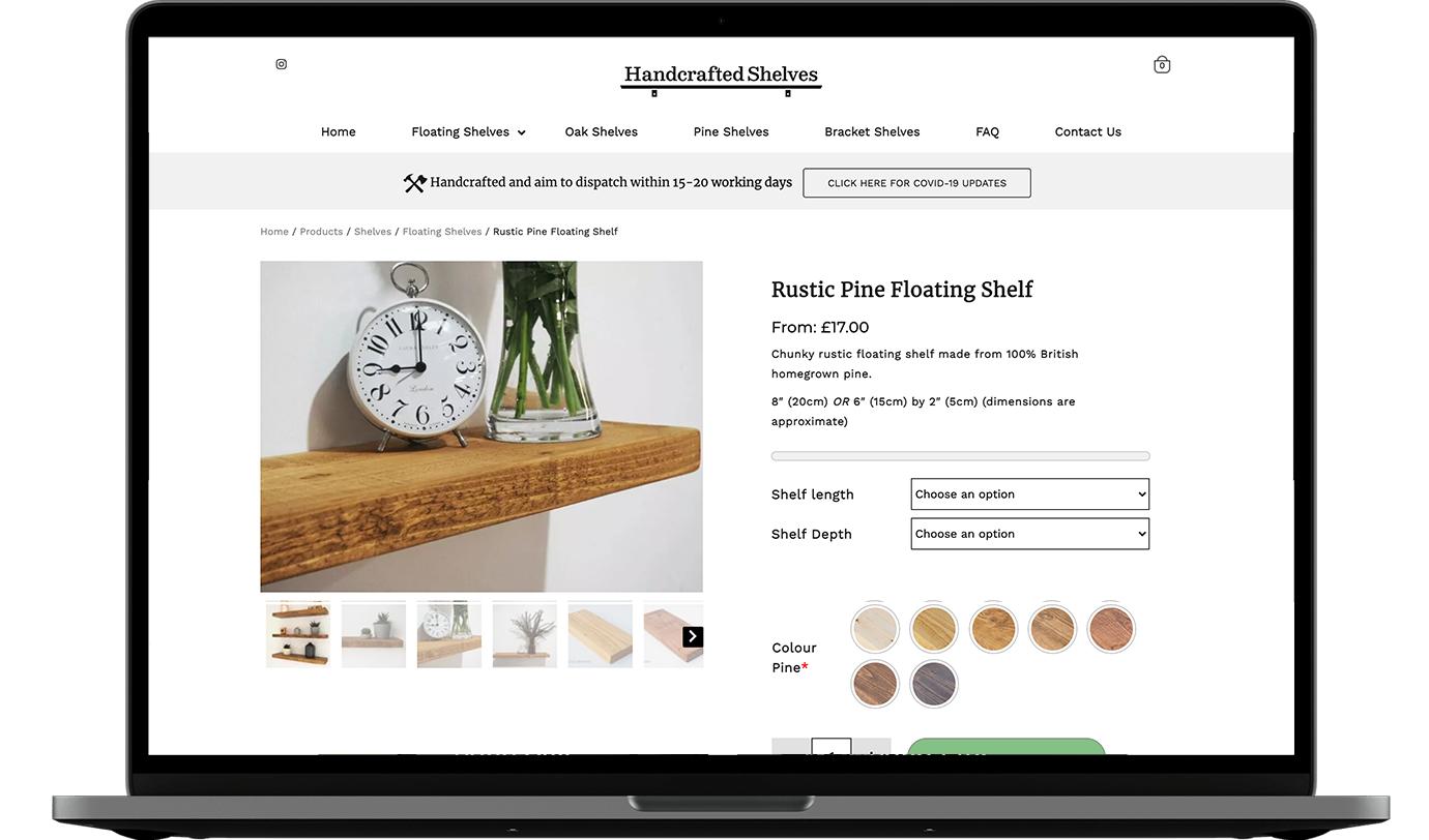 Handcrafted Shelves website
